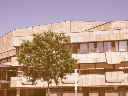 neues: LEIPZIG, GERMANY - JUNE 12, 2014: The Neues Gewandhaus new concert hall in Augustusplatz home of the Leipzig Gewandhaus Orchestra was designed by architect Rudolph Skoda in 1977 vintage