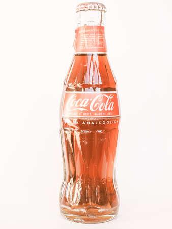 cola bottle: MILAN, ITALY - OCTOBER 24, 2014: Italian Coca Cola bottle vintage Editorial