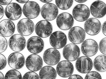 cent: Dollar coins 1 cent wheat penny cent currency of the United States in black and white