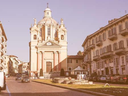 Bernardino: Baroque church of San Bernardino meaning St Bernardine in Chieri Italy vintage Editorial