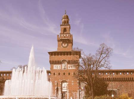 sforza: Vintage looking Castello Sforzesco meaning Sforza Castle in Milan Italy Stock Photo