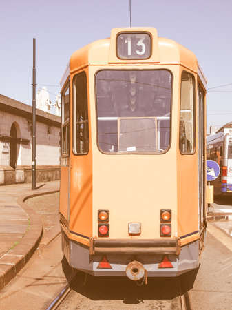 tramway: Tramway train for public transport mass transit in Turin, Italy vintage