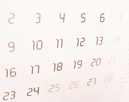 almanac: Detail of a calendar page with dates vintage