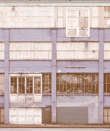 Detail of vintage industrial architecture in abandoned building vintage