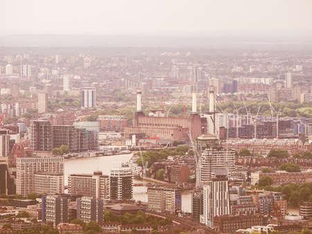 battersea: Vintage looking Aerial view of Battersea Power Station of London, UK