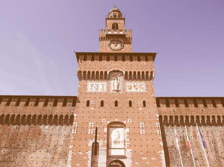 castello: Castello Sforzesco meaning Sforza Castle in Milan Italy vintage