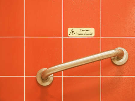 when: Sign - Caution please take care when standing or walking on any wet surfaces vintage