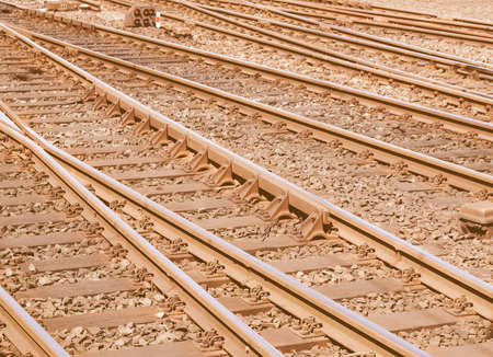 railway points: Detail of Railway railroad tracks for trains vintage