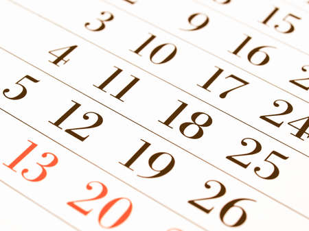 almanac: Detail of dates on a calendar page vintage Stock Photo