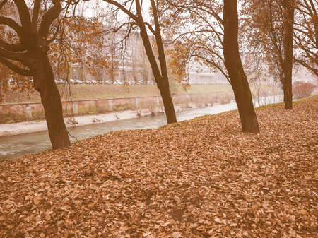 dora: Banks of Dora Riparia river in winter in Regio Parco (meaning Royal Park) quarter in Turin, Italy vintage