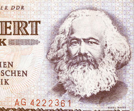 marx: Portrait of Karl Marx on an East German banknote - money no more in use since the reunification of germany in 1991 vintage