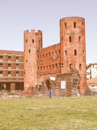 palatine: Palatine towers (Porte Palatine) ancient roman town gates Turin vintage