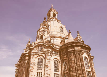 frauenkirche: Dresdner Frauenkirche meaning Church of Our Lady in Dresden Germany vintage Stock Photo