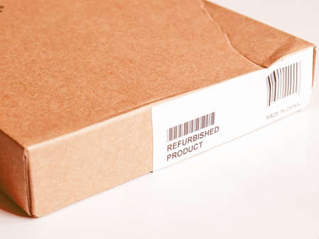 refurbished: Refurbished product - small packet parcel for mail shipping vintage Stock Photo