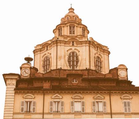 lorenzo: The church of San Lorenzo, Turin, Italy vintage