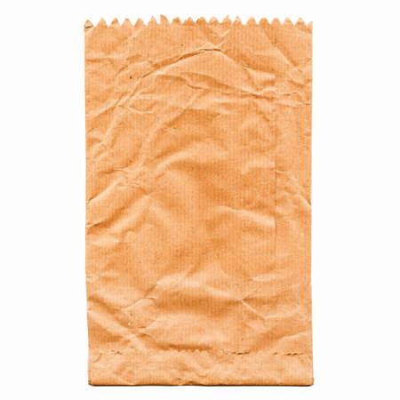 bolsa de pan: Bolsa de papel para fruta o pan aislado más de blanco de la vendimia