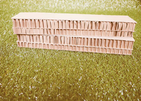 rationalism: Architectural scale model of a fictious modern building on a meadow vintage Stock Photo