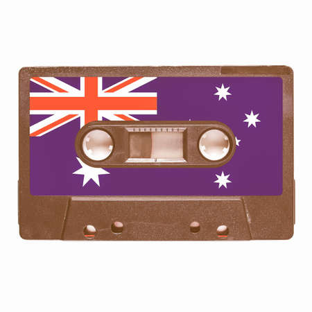 stereo cut: Magnetic tape cassette for audio music recording - Aussie music vintage Stock Photo