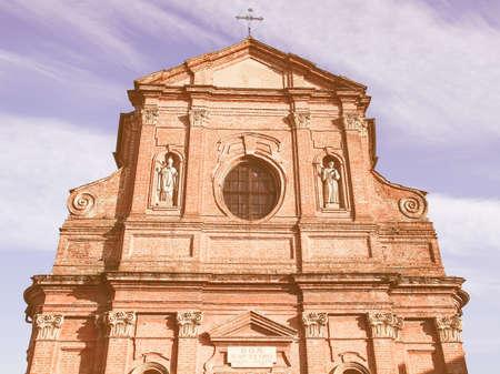 pietro: San Pietro Apostolo parish church in Brusasco, Italy vintage