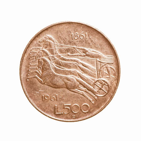 chariot: Vintage 500 Lire silver coin from Italy year 1961 with horses and chariot isolated over white vintage
