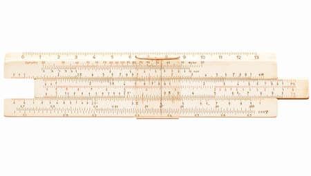 measuring instrument: Slide ruler vintage measuring instrument and calculator vintage Stock Photo