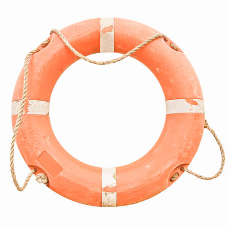 safety buoy: A life buoy for safety at sea - isolated over white background vintage Stock Photo