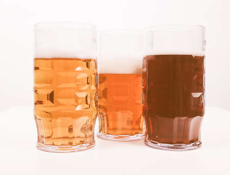 pilsner beer glass: Many glasses of German beers including weiss dunkel and lager vintage Stock Photo