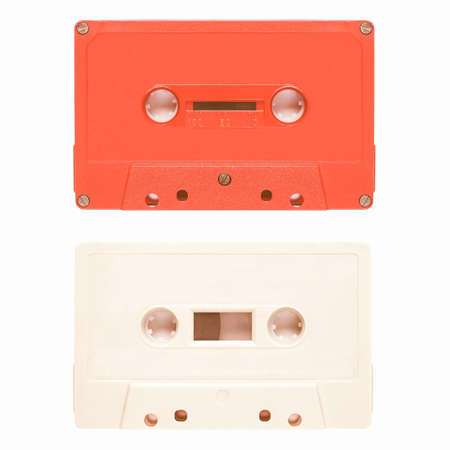 stereo cut: Magnetic tape cassette for audio music recording - isolated over white background vintage