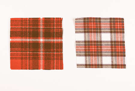swatch: Tartan fabric swatch over white background vintage
