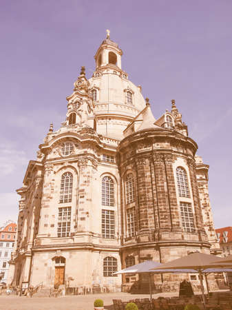 meaning: Dresdner Frauenkirche meaning Church of Our Lady in Dresden Germany vintage Stock Photo