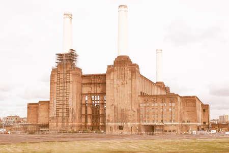 battersea: London Battersea powerstation, a landmark abandoned factory vintage