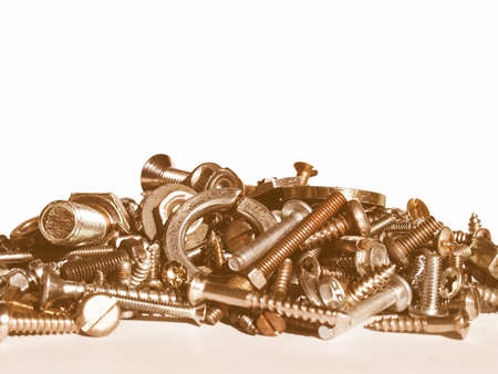 hardware: Industrial steel hardware bolts, nuts, screws vintage Stock Photo
