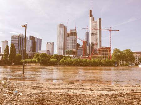 river main: FRANKFURT AM MAIN, GERMANY - JUNE 6: River Main Flood on June 6, 2013 in Frankfurt Am Main, Germany vintage