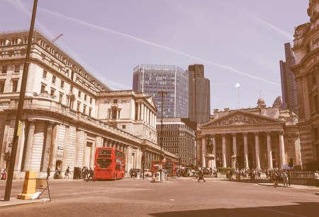 stock exchange: LONDON, UK - JUNE 11, 2015: People visiting the Bank of England vintage
