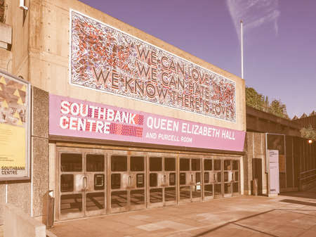music venue: LONDON, UK - SEPTEMBER 28, 2015: Queen Elizabeth Hall and Purcell Room iconic masterpiece of the New Brutalism and world class music venue part of the South Bank Centre vintage