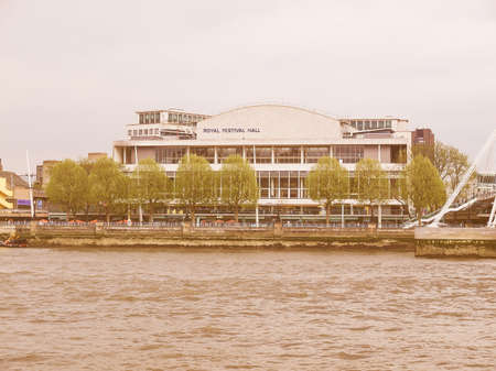 music venue: LONDON, ENGLAND, UK - MAY 05, 2010: The Royal Festival Hall built as part of the Festival of Britain national celebrations in 1951 is still in use as a major music and entertainment venue vintage