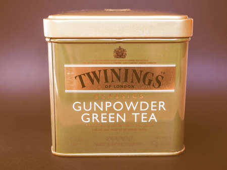 gunpowder tea: LONDON, UK - JANUARY 6, 2015: Twinings Gunpowder Green tea vintage