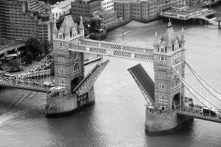 blackandwhite: LONDON, UK - JUNE 10, 2015:  Aerial view of Tower Bridge over River Thames in black_and_white