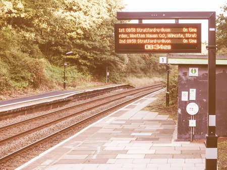 wood railway: TANWORTH IN ARDEN, UK - SEPTEMBER 26, 2015: Wood End railway station on the Stratford upon Avon to Birmingham route known at the Shakespeare Line vintage