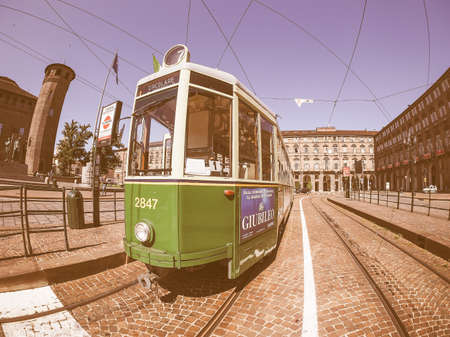 tramcar: TURIN, ITALY - CIRCA SEPTEMBER, 2015: A vintage historical green tramway seen with fisheye lens vintage Editorial