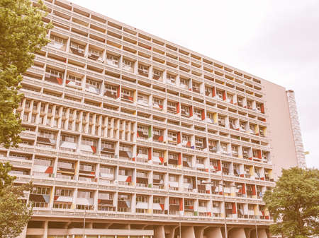 uniting: BERLIN, GERMANY - MAY 11, 2014: The Corbusier Haus was designed by Le Corbusier in 1957 following his concept of Unite dHabitation (Housing Unit) vintage
