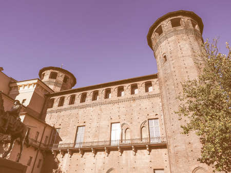 castello: Palazzo Madama Royal palace in Piazza Castello Turin Italy vintage Editorial
