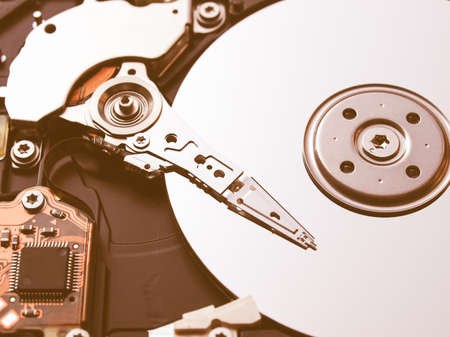 mass storage: Detail of a magnetic computer hard disk vintage