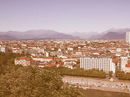 seen: Turin skyline panorama seen from the hills surrounding the city vintage
