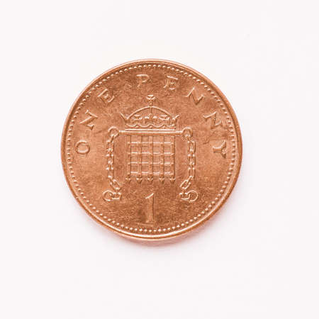 penny: Currency of the United Kingdom 1 penny coin vintage