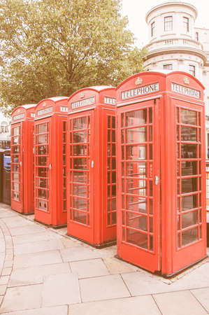 telephone box: Traditional red telephone box in London UK vintage Stock Photo