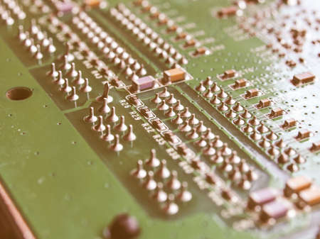 etched: Detail of an electronic printed circuit board vintage