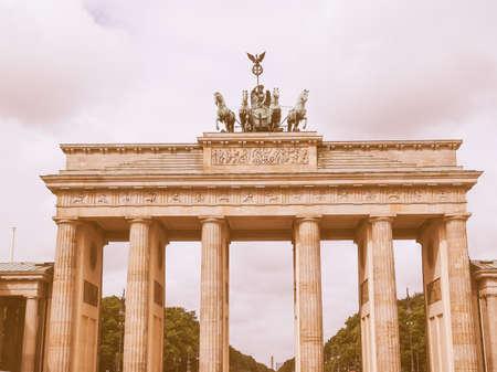 brandenburg gate: Brandenburger Tor Brandenburg Gate famous landmark in Berlin Germany vintage