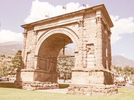 aosta: Arco d Augusto (Arch of August) in Aosta Italy vintage