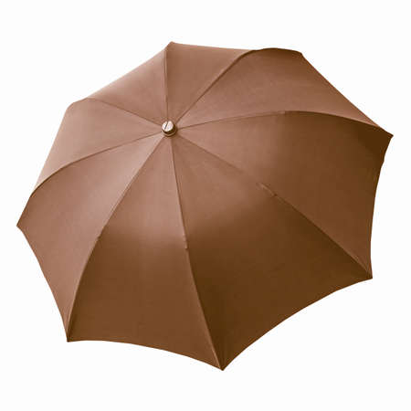 brolly: Black umbrella isolated over a white background vintage Stock Photo